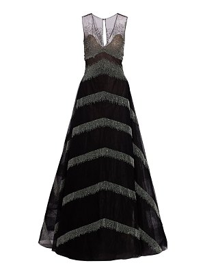 Ahluwalia delilah metallic fringe a-line ball gown