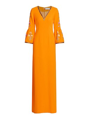 Ahluwalia embroidered bell-sleeve sheath gown