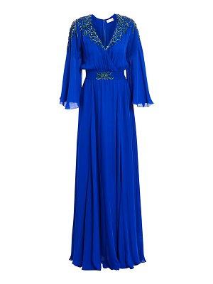 Ahluwalia embroidered flutter-sleeve silk gown