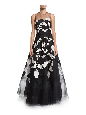 Ahluwalia Girona Floral-Embroidered Tulle Illusion Gown