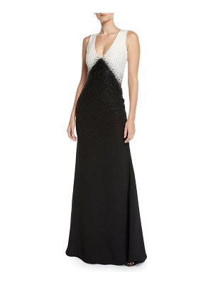 Ahluwalia Toiny Sleeveless Colorblocked Sequined Gown