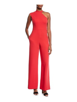 Aidan by Aidan Mattox Asymmetric One-Shoulder Crepe Jumpsuit