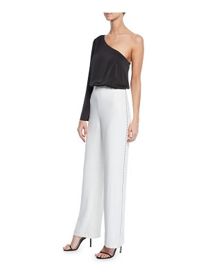 Aidan by Aidan Mattox Asymmetric One-Shoulder Two-Tone Jumpsuit w/ Charmeuse Top & Crepe Bottom