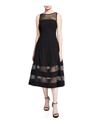 Aidan by Aidan Mattox Bateau-Neck Sleeveless A-Line Dress w/ Lurex® Dot Illusion Hem