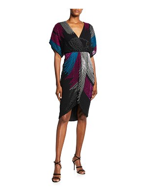 Aidan by Aidan Mattox Beaded Dolman-Sleeve Faux-Wrap Dress