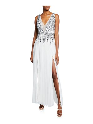 Aidan by Aidan Mattox Beaded Mesh Plunge V-Neck Sleeveless Gown