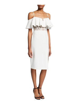 Aidan by Aidan Mattox Cold-Shoulder Corset Cocktail Dress