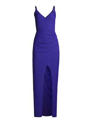 Aidan by Aidan Mattox crepe front-slit gown