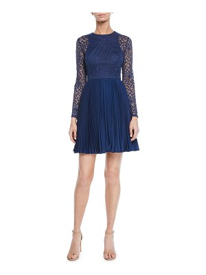Aidan by Aidan Mattox Crewneck Bracelet-Sleeve Illusion Lace Mini Dress w/ Pleated Skirt