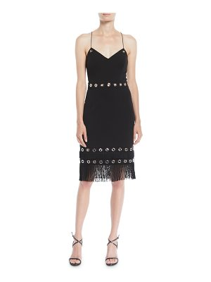 Aidan by Aidan Mattox Crisscross Cocktail Dress w/ Grommets & Fringe