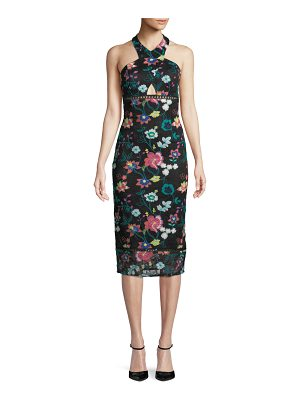Aidan by Aidan Mattox Embroidered Floral-Lace Halter Dress