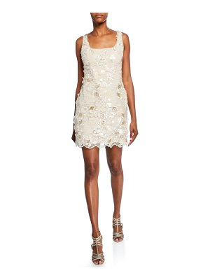 Aidan by Aidan Mattox Embroidered Sequin Sleeveless Mini Sheath Dress