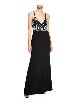 Aidan by Aidan Mattox Handed-Beaded V-Neck Sleeveless Long Crepe Dress