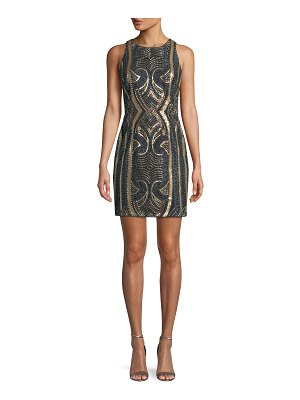 Aidan by Aidan Mattox Jewel-Neck Sleeveless Sequin Embroidered Mini Cocktail Dress