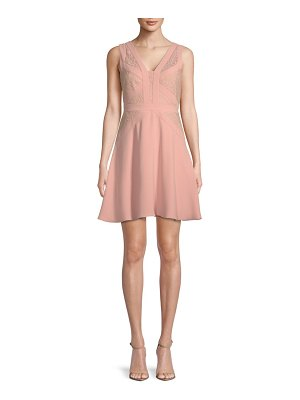 Aidan by Aidan Mattox Lace-Trimmed Fit-and-Flare Dress