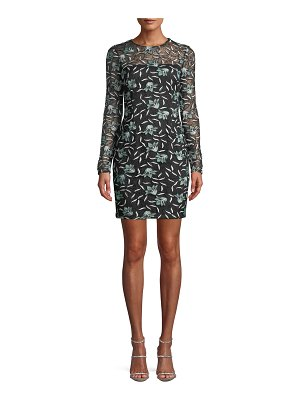 Aidan by Aidan Mattox Long-Sleeve 3-D Floral Lace Fitted Mini Cocktail Dress