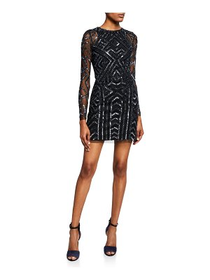 Aidan by Aidan Mattox Long-Sleeve Geometric Hand-Beaded Mini Cocktail Dress