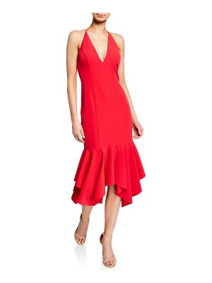 Aidan by Aidan Mattox Low-Back Plunging Halter-Neck Crepe Midi Flounce Dress