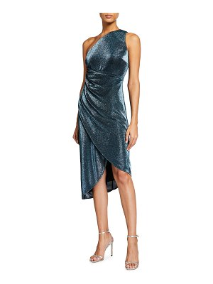 Aidan by Aidan Mattox Metallic Knit One-Shoulder Draped Skirt Dress