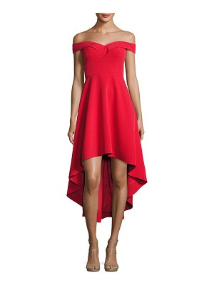 Aidan by Aidan Mattox Off-the-Shoulder High-Low Crepe Cocktail Dress