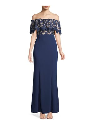 Aidan by Aidan Mattox Off-the-Shoulder Lace Popover Mermaid Gown