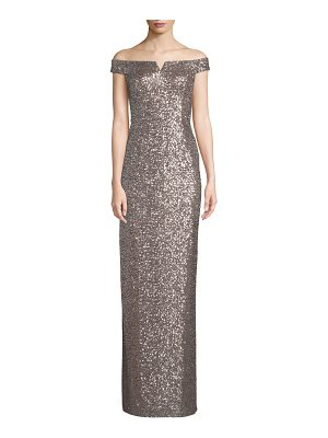 Aidan by Aidan Mattox Off-the-Shoulder Two-Tone Sequin Gown