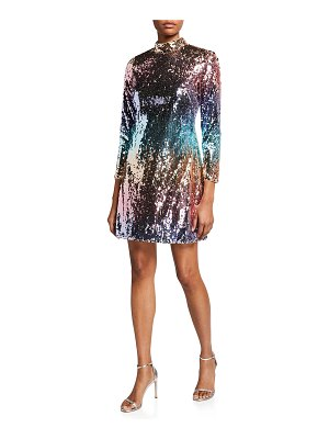 Aidan by Aidan Mattox Ombre Sequin Mock Neck Long-Sleeve Mini Dress