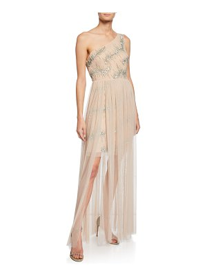 Aidan by Aidan Mattox One-Shoulder Hand-Beaded Mesh Gown w/ Sequins & Tulle Skirt Overlay
