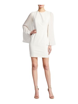 Aidan by Aidan Mattox Pleated Long-Sleeve Crepe Cocktail Dress