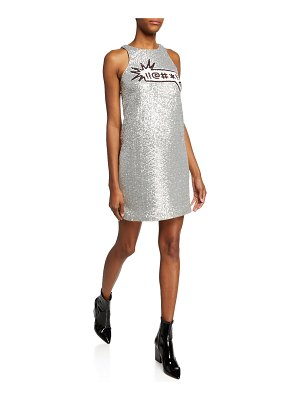 Aidan by Aidan Mattox Sequin Applique Sleeveless Mini Dress