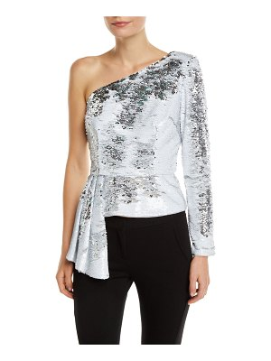 Aidan by Aidan Mattox Sequin Asymmetric Peplum Top