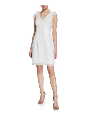 Aidan by Aidan Mattox Sequin Sleeveless Mini Cocktail Dress with Bow Straps
