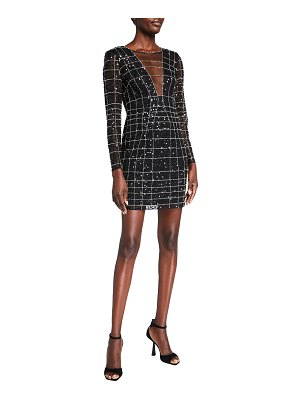 Aidan by Aidan Mattox Sequin Spider Web Long-Sleeve Illusion Dress