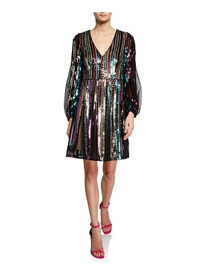 Aidan by Aidan Mattox Sequin Striped Long-Sleeve Dress with Textured Lace Insets