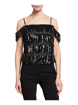 Aidan by Aidan Mattox Sequin Tiered Fringe Top