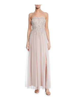 Aidan by Aidan Mattox Sleeveless Hand-Beaded Full-Skirt Gown w/ Thigh-Slit