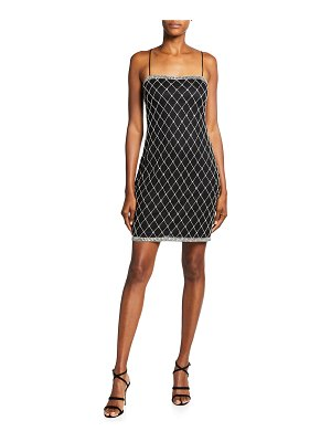 Aidan by Aidan Mattox Spaghetti-Strap Diamond Beaded Sheath Dress
