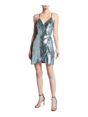 Aidan by Aidan Mattox Spaghetti-Strap Sequin Wrap Cocktail Dress