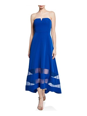 Aidan by Aidan Mattox Strapless High-Low Crepe Dress with Sheer Insets