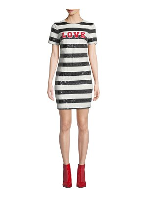 Aidan by Aidan Mattox Striped Sequin Short-Sleeve Cocktail Dress with Love Applique