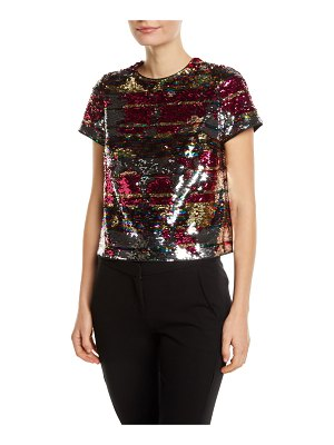 Aidan by Aidan Mattox Striped Sequin T-Shirt