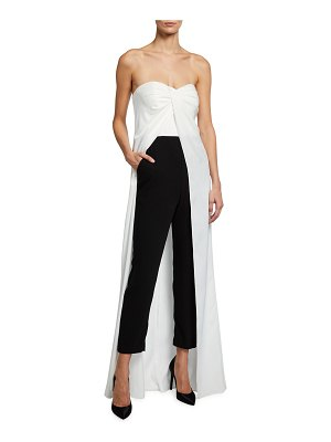 Aidan by Aidan Mattox Two-Tone Strapless Jumpsuit with Skirt Overlay