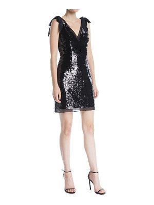 Aidan by Aidan Mattox V-Neck Bow-Shoulder Sleeveless Sequined Mini Cocktail Dress