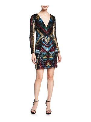 Aidan by Aidan Mattox V-Neck Long-Sleeve Geometric-Beaded Cocktail Dress