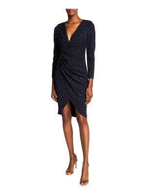 Aidan by Aidan Mattox V-Neck Long-Sleeve Mock-Wrap Dress