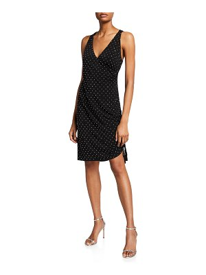 Aidan by Aidan Mattox V-Neck Ruched Dress w/ Heat Set Rhinestones