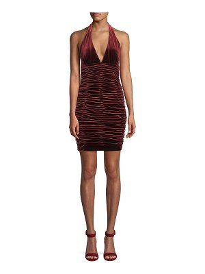 Aidan by Aidan Mattox V-Neck Shirred Velvet Body-Con Mini Cocktail Halter Dress