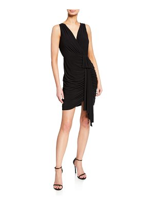 Aidan by Aidan Mattox V-Neck Sleeveless Draped Jersey Cocktail Dress