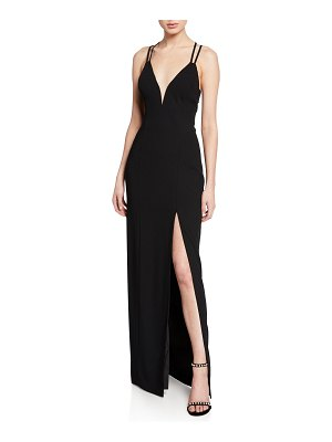 Aidan by Aidan Mattox V-Neck Strappy-Back Crepe Gown