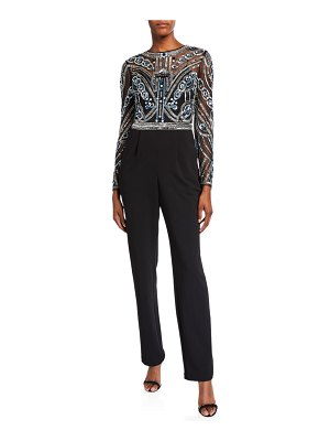 Aidan Mattox Beaded Bodice Long-Sleeve Jumpsuit